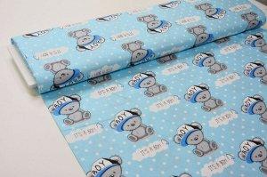 Ткань сатин - Мишки в кепках на голубом фоне 0,5*1,6м