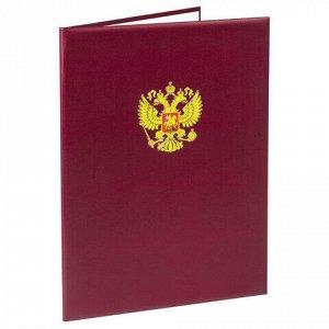 Папка адресная бумвинил с гербом России, 3D-печать, формат А4, бордовая, индивидуальная упаковка, ПД-013