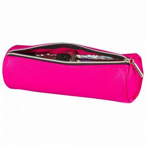 "Пенал-косметичка BRAUBERG под фактурную кожу, ""Экзотика"", розовый, 20х6х6 см, 226736"