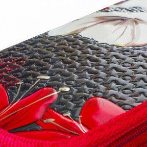 Пенал BRAUBERG, 2 отделения, металлизированный картон, конгрев, 19х11 см, Цветы, 228098