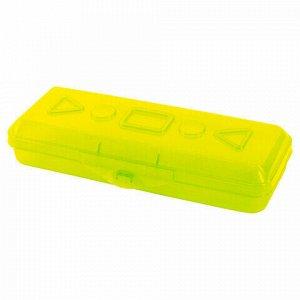 Пенал пластиковый ПИФАГОР тонированный, ассорти 4 цвета, 20х7х4 см, 228113