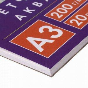Скетчбук, акварельная белая бумага 200г/м ГОЗНАК, 297х410мм, 20л,гребень подложка BRAUBERG ART DEBUT, 110990