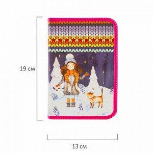 Пенал BRAUBERG, 1 отделение, 1 откидная планка, ламинированный картон, 19х13 см, Зима, 228253