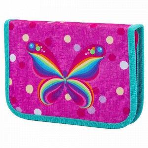 """Пенал TIGER FAMILY 1 отделение, 1 откидная планка, ткань, """"Rainbow Butterfly"""", 20х14х4 см, 228885, TGNQ-008C1E"""
