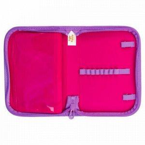 """Пенал TIGER FAMILY 1 отделение, 1 откидная планка, ткань, """"Pink Amour"""", 20х14х4 см, 228888, TGNQ-041C1E"""