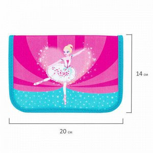 """Пенал TIGER FAMILY 1 отделение, 1 откидная планка, ткань, """"Ballerina"""", 20х14х4 см, 228890, TGNQ-045C1E"""