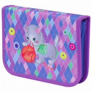 """Пенал TIGER FAMILY 1 отделение, 1 откидная планка, ткань, """"Playful Kitten"""", 20х14х4 см, 228914, TGJL-027C1E"""