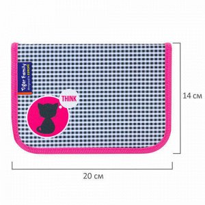 """Пенал TIGER FAMILY 1 отделение, 1 откидная планка, ткань, """"Think Pink"""", Европейский, 20х14х4 см, 228968, TGNQ-053C1E"""
