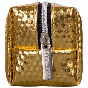 """Пенал-косметичка BRAUBERG, глянцевый, мягкий, """"Celebrity Gold"""", 21х5х6 см, 228992"""
