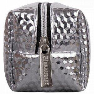 """Пенал-косметичка BRAUBERG, глянцевый, мягкий, """"Celebrity Silver"""", 21х5х6 см, 228993"""