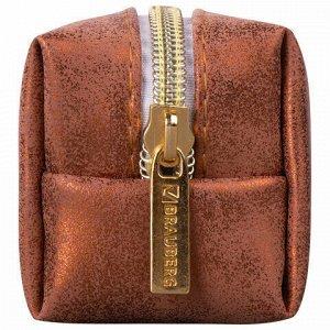 """Пенал-косметичка BRAUBERG, экокожа, """"Luxury"""", с эффектом позолоты, бронзовый, 21х5х6 см, 228996"""