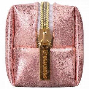 """Пенал-косметичка BRAUBERG, экокожа, """"Luxury"""", с эффектом позолоты, розовый, 21х5х6 см, 228997"""