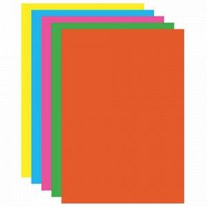 """Картон цветной А4 МЕЛОВАННЫЙ (глянцевый), ФЛУОРЕСЦЕНТНЫЙ, 10 листов 5 цветов, в папке, BRAUBERG, 200х290 мм, """"Лето"""", 129918"""