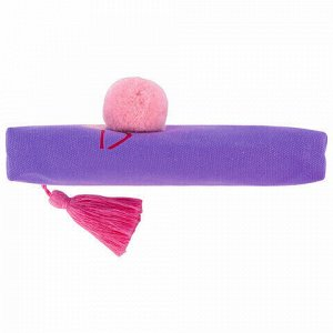 "Пенал-косметичка BRAUBERG, канвас с объемной аппликацией, ""Flamingo"", 20х3х9 см, 229001"
