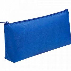 Пенал-косметичка ПИФАГОР на молнии, текстиль, синий, 19х4х9 см, 229004