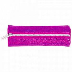 "Пенал-тубус BRAUBERG, мягкий, ""Glitter Pink"", 20х7х7 см, 229017"
