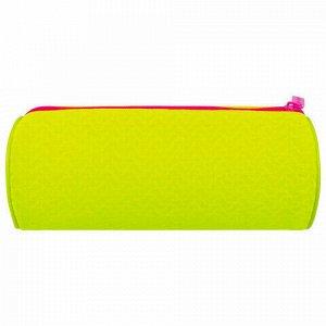 """Пенал-тубус BRAUBERG, сетка, """"Neon"""", желтый, 21х8х8 см, 229025"""