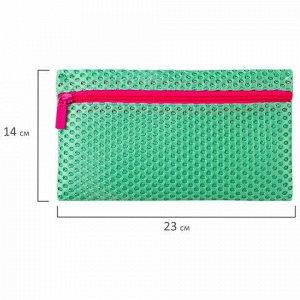 """Пенал-косметичка BRAUBERG, сетка, """"Neon"""", аквамарин, 23х14 см, 229027"""
