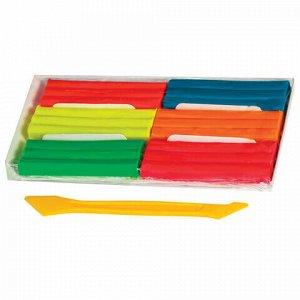 Пластилин флуоресцентный BRAUBERG, 6 цветов, 90 г, со стеком, картонная упаковка, 103352