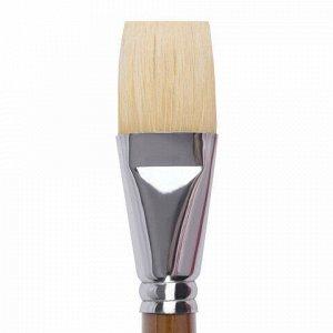 Кисть художественная профессиональная BRAUBERG ART CLASSIC, щетина, плоская, № 36, длинная ручка, 200727