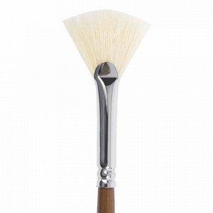 Кисть художественная профессиональная BRAUBERG ART CLASSIC, щетина, веерная, № 6, длинная ручка, 200744
