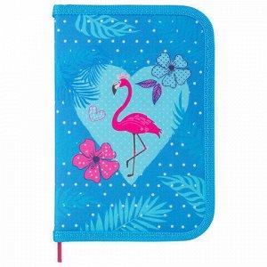 """Пенал BRAUBERG с наполнением, 1 отделение, откидная планка, 24 предмета, 21х14 см, """"Flamingo"""", 229296"""