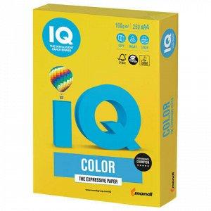 Бумага цветная IQ color, А4, 160 г/м2, 250 л., интенсив, ярко-желтая, IG50