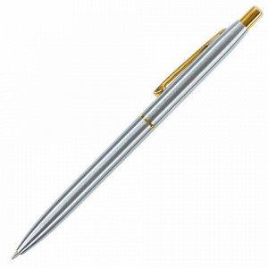 Ручка подарочная шариковая BRAUBERG Brioso, СИНЯЯ, корпус серебристый с золотистыми деталями, линия письма 0,5 мм, 143463