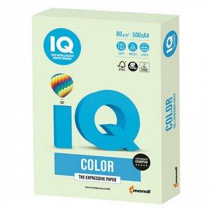 Бумага цветная IQ color, А4, 80 г/м2, 500 л., пастель, светло-зеленая, GN27
