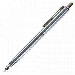 Ручка подарочная шариковая BRAUBERG Larghetto, СИНЯЯ, корпус серебристый с хромированными деталями, линия письма 0,5 мм, 143474