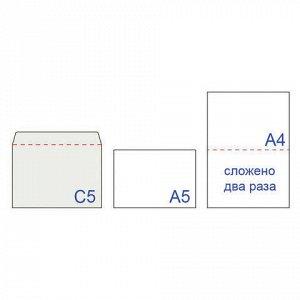 Конверты С5 (162х229 мм), отрывная лента, 80 г/м2, КОМПЛЕКТ 1000 шт.
