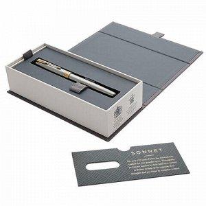 """Ручка-роллер PARKER """"Sonnet Core Steel GT"""", корпус серебристый, позолоченные детали, черная, 1931506"""