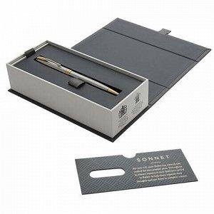 """Ручка шариковая PARKER """"Sonnet Core Stainless Steel GT"""", серебристый корпус, позолоченные детали, черная, 1931507"""