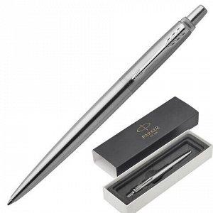 """Ручка шариковая PARKER """"Jotter Core Stainless Steel CT"""", корпус серебристый, хромированные детали, синяя, 1953170"""