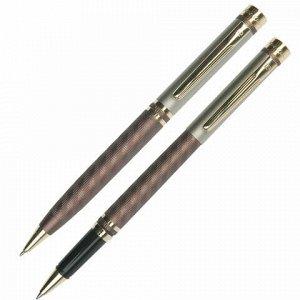 Набор PIERRE CARDIN (Пьер Карден) шариковая ручка и ручка-роллер, корпус коричневый, латунь, PC0824BP/RP, синий