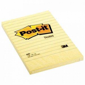 Блок самоклеящийся (стикер) POST-IT ORIGINAL 102х152 мм, 100 л., линованный, желтый, 660