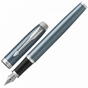"""Ручка перьевая PARKER """"IM Core Light Blue Grey CT"""", корпус серо-голубой лак, хромированные детали, синяя, 1931648"""