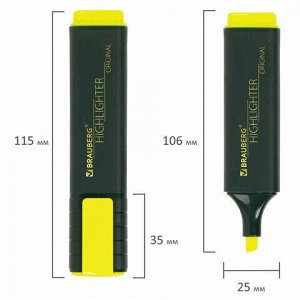 """Текстовыделитель BRAUBERG """"ORIGINAL"""", ЖЕЛТЫЙ, линия 1-5 мм, 151681"""