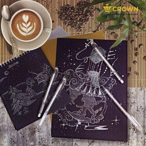 """Ручка гелевая CROWN """"Hi-Jell Pastel"""", БЕЛАЯ, корпус тонированный белый, узел 0,8 мм, линия письма 0,5 мм, HJR-500P"""