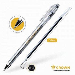 "Ручка гелевая CROWN ""Hi-Jell"", ЧЕРНАЯ, корпус прозрачный, узел 0,5 мм, линия письма 0,35 мм, HJR-500B"
