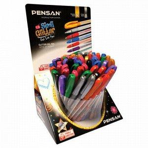 """Ручка гелевая PENSAN """"Glitter Gel"""", АССОРТИ, чернила с блестками, узел 1 мм, линия письма 0,5 мм, дисплей, 2280/S60"""
