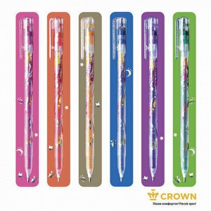 "Ручки гелевые CROWN, НАБОР 6 шт., АССОРТИ, ""Glitter Metal Jell"", блестки, узел 1 мм, линия письма 0,8 мм, MTJ-500GL/6"