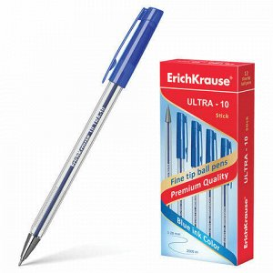 """Ручка шариковая масляная ERICH KRAUSE """"Ultra-10"""", СИНЯЯ, корпус прозрачный, узел 0,7 мм, линия письма 0,26 мм, 13873"""