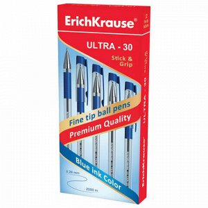 """Ручка шариковая масляная с грипом ERICH KRAUSE """"Ultra-30"""", СИНЯЯ, корпус прозрачный, узел 0,7 мм, линия письма 0,26 мм, 19613"""