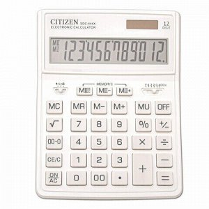 Калькулятор настольный CITIZEN SDC-444WHE (204х155 мм), 12 разрядов, двойное питание, БЕЛЫЙ