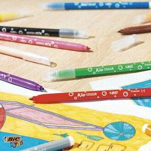 """Фломастеры BIC """"Kid Couleur"""", 12 цветов, суперсмываемые, вентилируемый колпачок, европодвес, 9202932"""