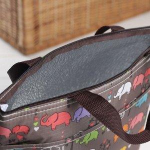 Сумка-термо, отдел на молнии, наружный карман, цвет коричневый