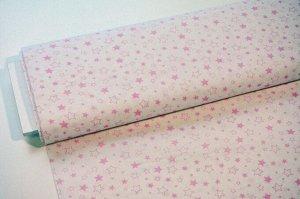 Ткань Бязь - Звезды (розовые) на белом 0,5*1,5м