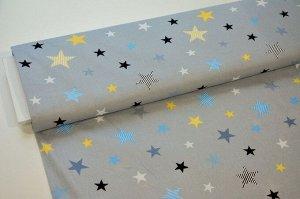 Ткань Бязь - Звезды на сером 0,5*1,5м