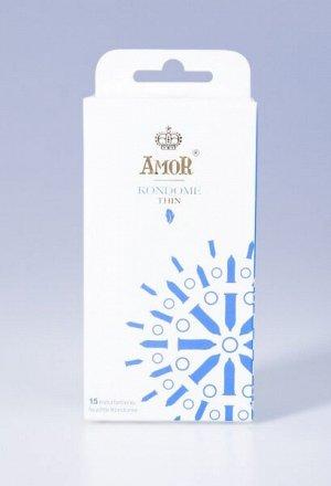 Супертонкие презервативы AMOR Thin для наибольшей чувствительности и естественных ощущений(15шт)